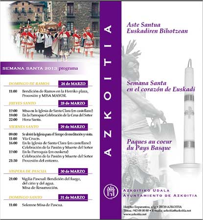 Programa de Semana Santa en Azkoitia 2013