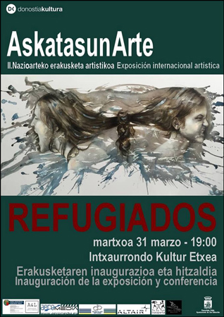 """""""Refugiados, la visión artística de la crisis siria"""" erakusketaren foiletoa"""