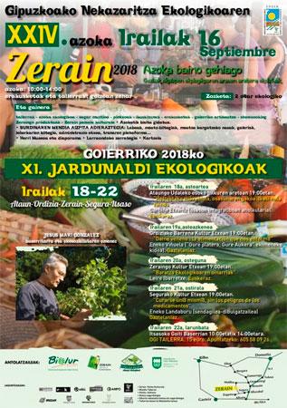 Cartel de la Feria de Agricultura Ecológica de Gipuzkoa en Zerain 2018