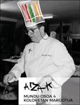"""Folleto de la exposición """"Arzak. El mundo entero pintado de cuatro colores"""""""
