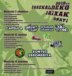 Cartel del Programa Fiestas de Errekalde de Oñati 2019
