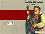 """Urretxu eta Zumarragako """"Iparragirre Sariak"""" Literatur Lehiaketaren kartela 2021"""