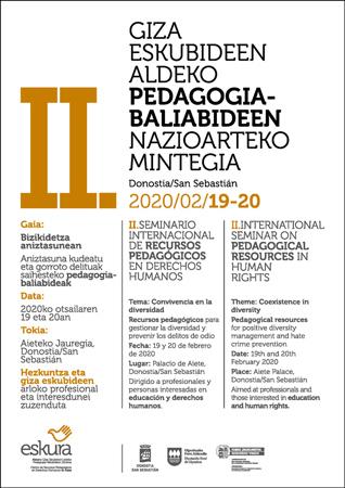 """Cartel del seminario """"Recursos Pedagógicos en Derechos Humanos"""" 2020"""