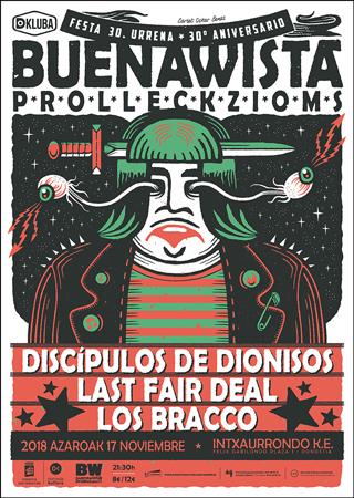 """Cartel del concierto """"Buenawista Prollecziom`s Festa: 30º aniversario"""" 2018"""