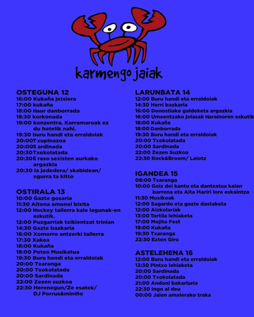 Cartel del Programa Fiestas de la Virgen del Carmen del Muelle de Donostia 2018