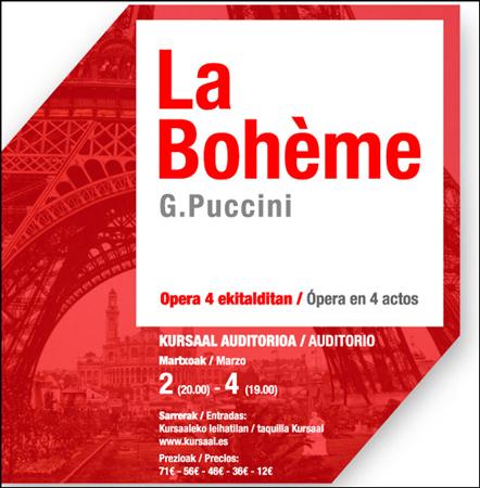 """Cartel de la ópera """"La Bohème"""" de Donostia 2018"""