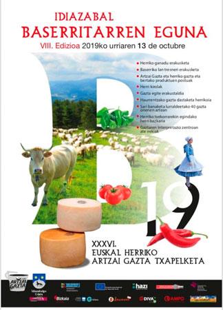 Cartel del Día del Baserritarra de Idiazabal 2019