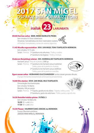 Cartel del Programa Fiestas de San Miguel de Ormaiztegi 2017