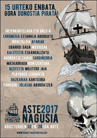 Cartel de la Semana Grande de los Piratas Donostia 2017