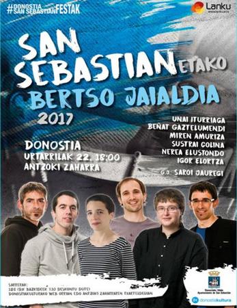 Donostiako San Sebastianetako Bertso Jaialdiaren kartela 2017