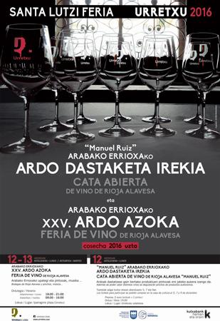 Cartel de la Cata Abierta y Feria De Vino De Rioja Alavesa de Urretxu 2016