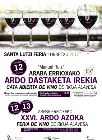 Cartel de la Cata Abierta y Feria De Vino De Rioja Alavesa de Urretxu 2017