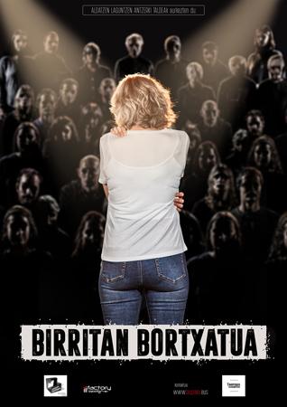 """Cartel de la obra """"Birritan bortxatua"""""""